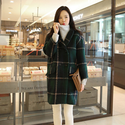 gzeeo 2014 autumn and winter woolen coat Korean Slim Plaid cashmere wool coat Girls long section of large size