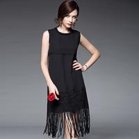 夏季新款欧美流苏下摆中裙圆领纯色无袖连衣裙修身显瘦中腰裙子