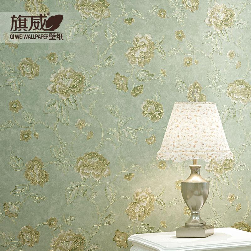 旗威 美式乡村复古绿色田园金属勾边无纺布墙纸卧室客厅ab版壁纸图片