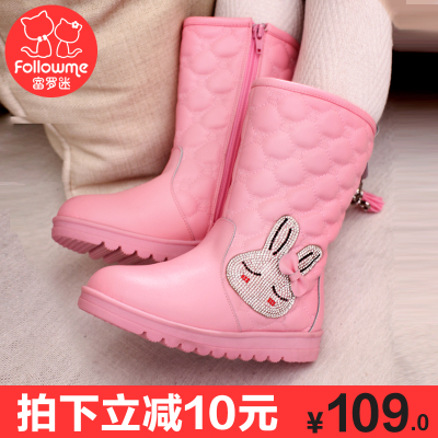 Lo Fu fan of children's shoes girls shoes boots 2014 winter snow boots female models cotton boots leather boots children boots