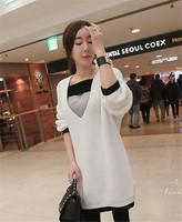 2015秋季韩国新品 韩版新潮V领女衫 蝙蝠袖个性拼色百搭长衫