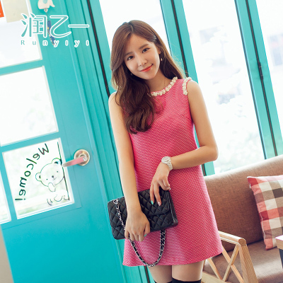 Run B a 2014 Hitz Women Korean round neck dress was thin Slim bottoming vest sleeveless dress