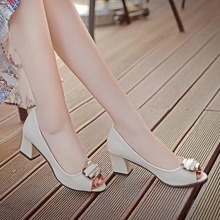 春夏季甜美蝴蝶结妈妈鞋子鱼嘴单鞋女粗跟高跟鞋中跟女士皮鞋