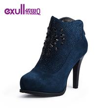 exull依思q2014冬季新款绒面水钻酒杯跟超高跟短靴女鞋子14183462图片