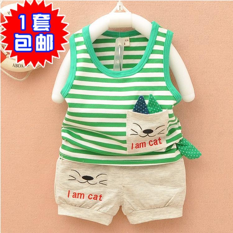 детский костюм Летом новые девушки младенца жилет набор летняя одежда детей выходить на улицу в соответствии Детская одежда Детская одежда Мальчики