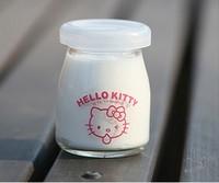 批发100MLHello Kitty图案许愿瓶布丁瓶果冻瓶玻璃瓶酸奶瓶喜糖瓶