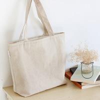 布叮原创帆布包 日系简约文艺范麻布单肩包 纯色横款可折叠购物袋