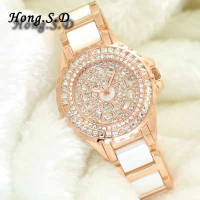 Ms. authentic Korean ceramic diamond watch full diamond fashion watch fashion quartz watch waterproof watch female form CK