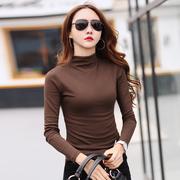 半高领打底衫女秋冬中领长袖t恤加绒加厚纯棉紧身上衣咖啡色