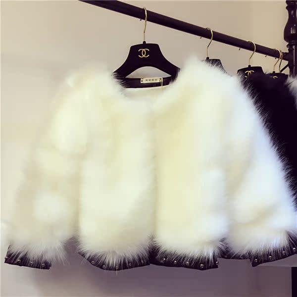 2015冬季新款短款女士小香风钉珠仿皮草外套狐狸毛獭兔毛韩版冬装