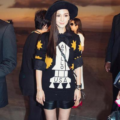 2015 spring new Angelababy Angelababy star with PU handbags hip skirt leather skirt girl