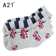 以纯A21童装儿童短袜2双2017秋季条纹卡通汽车图案棉袜子