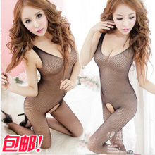 The package mail open fork exposed breast net women's sexy small transparent mesh conjoined fishnet stockings lingerie filar socks suit
