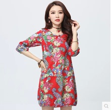 National wind loose skirt taobao in the big code points Printing the new spring 2015 ramie cotton dress