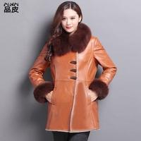 品皮2015冬新款羊羔毛皮毛一体大衣女中长款狐狸毛领真皮衣外套