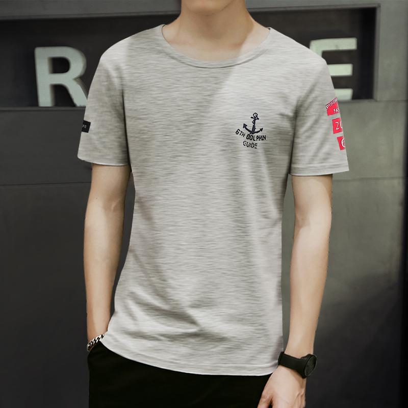夏装短袖T恤男士圆领纯棉日系印花修身夏季半袖青少年潮流体恤