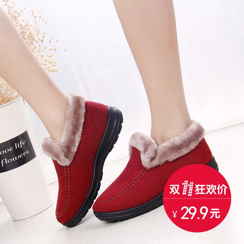 2016冬季新款老北京布鞋女棉鞋 平底妈妈鞋女靴子加绒保暖雪地靴