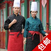 酒店厨师服黑色秋冬装 厨师服装长袖 厨房工作服 黑色厨师工作服