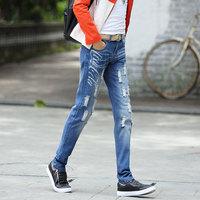 2015春夏直筒牛仔裤破洞牛仔裤男韩版男裤男装直筒裤修身牛仔男潮