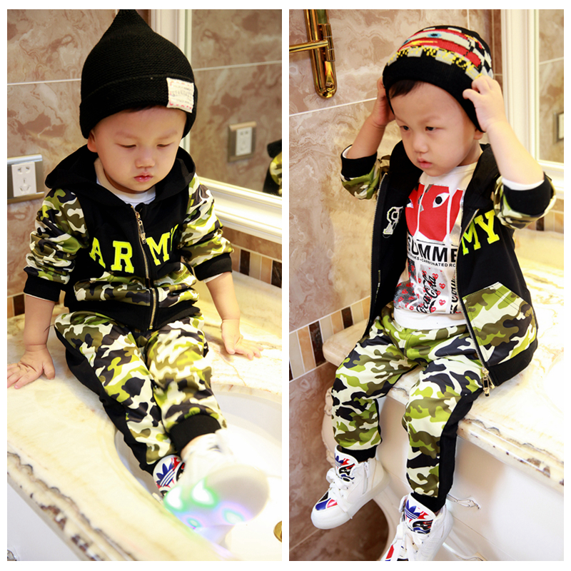 2014 Hitz Korean version of Boys Boys Camouflage baby child recreational sports hooded suit