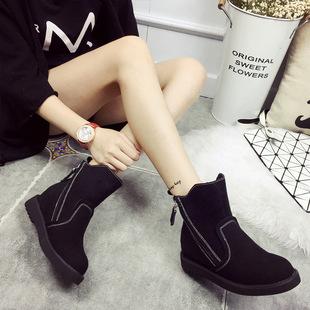 真皮圆头防水台短筒平跟纯色短靴女皮靴秋冬新款矮跟原创马丁靴