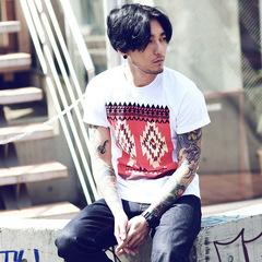 日系复古色彩名族风印花男士短袖T恤 2861 F35