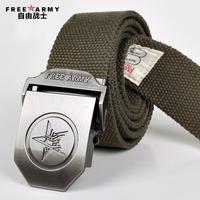 自由战士通用帆布腰带休闲百搭潮裤带户外皮带自动扣裤腰带特价