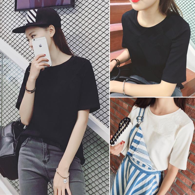 夏装韩版bf原宿体恤百搭宽松显瘦短袖T恤女学生半袖上衣服打底衫