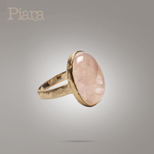 Piara natural stone oval lotus plain bread with ring bracelet 925 silver plating rose gold by hand