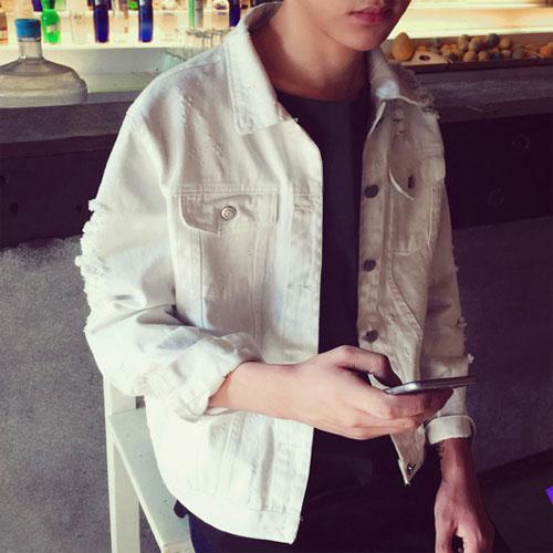 原创日系复古做旧破洞牛仔衣欧美时尚休闲翻领夹克纯色修身外套男