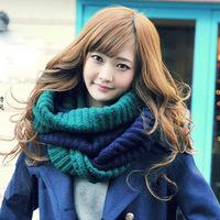 韩版冬保暖毛线套头百搭男女学生情侣双色针织围脖套头绕两圈批发