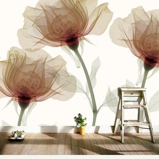 定制北欧抽象透明花卉简约墙纸客厅沙发电视背景墙壁画无纺布墙纸