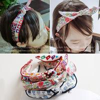 韩国进口发饰 可爱兔耳朵儿童宝宝小号发卡盘头发箍头箍发夹