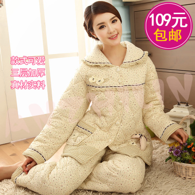 2014 new special winter thick super soft coral velvet quilted pajamas men and women couple XL tracksuit