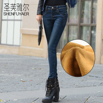 Shengfuyaer new winter plus thick velvet jeans female long pants feet warm retro pencil pants female