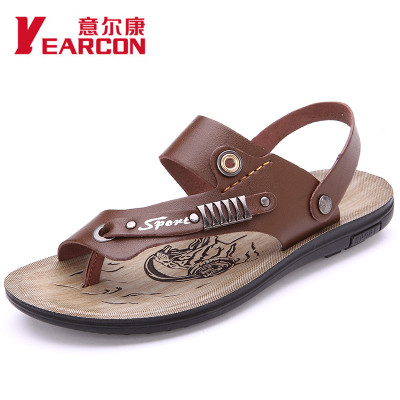 Meaning er kang new men sandals, men leather authentic cool slippers breathable clip toe sandals men's leather sandals in summer