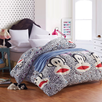 Printed cartoon monkey mouth double thick winter blankets to increase child feather quilt Simian core shipping