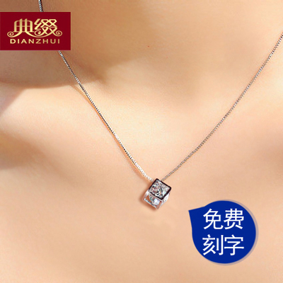 Code 925 decorated silver pendant necklace female couple short section of the clavicle silver crystal Korean fashion jewelry accessories