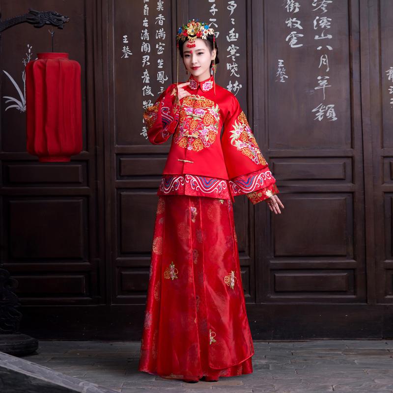 2014新款复古嫁衣长袖旗袍秀禾服中式婚纱礼服新娘结婚红色敬酒服