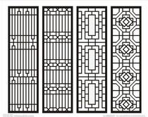 东阳木雕仿古中式装修 玄关隔断屏风 花格 门窗 背景墙 实木镂空