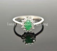 Double tenth a losing money selling Natural emerald 925 silver ring ring Chinese valentine's day gift