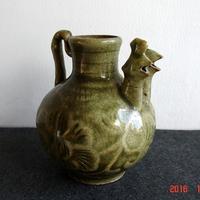 老古董瓷器古玩瓷器明代龙泉青瓷印花鸡头壶古玩收藏
