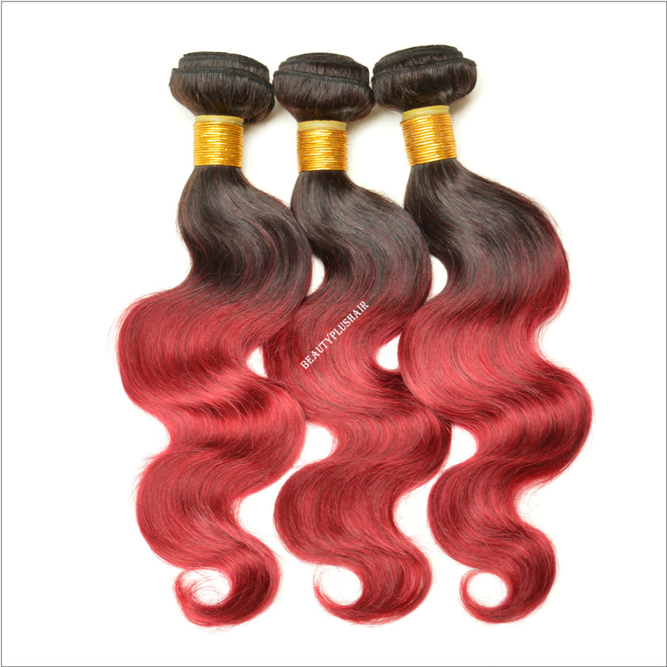 渐变色真人发蛇曲发帘子Ombre Red Body Wave Hair Extensions