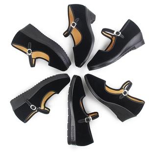厚底高跟老北京布鞋女软底黑布鞋酒店工作鞋平底礼仪单鞋妈妈舞鞋