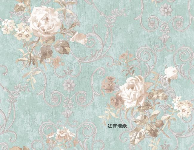 美式墙纸 进口壁纸 蓝色法式墙纸 欧式田园墙纸卧室 纯纸墙纸3图片