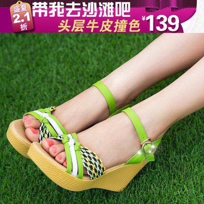 New mainstream 2015 summer new women's high-heeled sandals slope with cowhide leather sandals women hit the color of straw