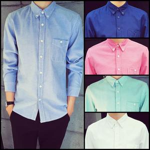 春季男士休闲长袖衬衫韩版修身潮男纯色衬衫薄款百搭大码青年衬衣