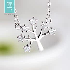 925银项链女短款锆石银饰吊坠韩饰品锁骨链套链许愿树生日礼物
