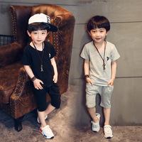 2016童装夏款韩版中小男童纯棉T恤纯棉短裤儿童套装两件套休闲潮