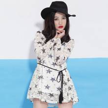 IEF love clothes in the spring of 2015 with sweet college fashion women's clothing in long close tied with chiffon dress
